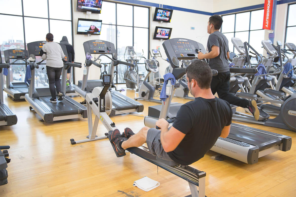 Fort Wayne YMCA filled with equipment for exercising and working out.